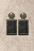 Black Stone Square Earrings