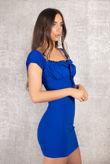 Offshoulder Tie Royal Blue Dress