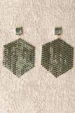 Bottle Green Stone Hexagon Earrings