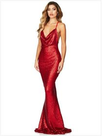 Red Sequin Cowl Neck Maxi Dress