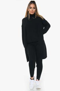 Knitted Cardigan 3 Piece Black Lounge Set