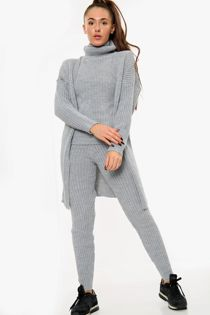 Knitted Cardigan 3 Piece Grey Lounge Set-Copy