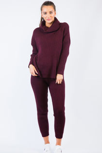 Burgundy Knitted Long Loungewear Set
