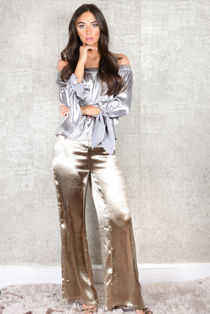 Golden Glamour Satin Wide Leg Trousers