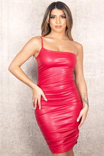Strapless Red Leather Dress