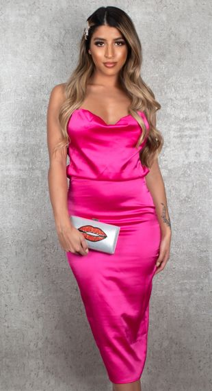 Hot Pink Satin Strappy Cowl Neck Midi