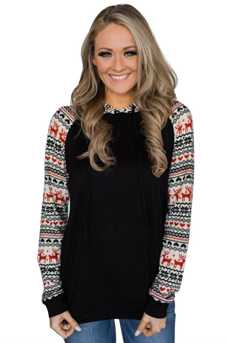 Black Reindeer Hooded Jumpers