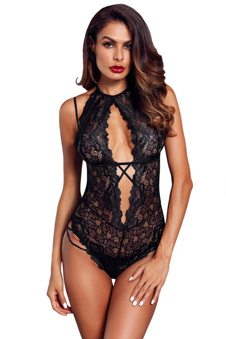 Halter Black Lace Bodysuit