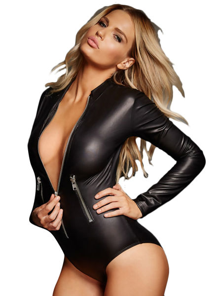 Leathery Zip Black Bodysuit