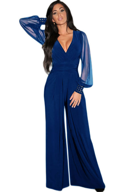 Desire Blue Embellished Cuffs Long Mesh Sleeves Jumpsuit