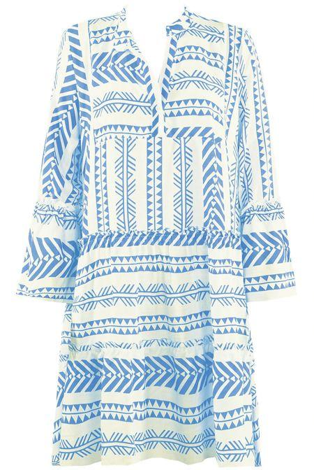 Blue Printed Shift Dress
