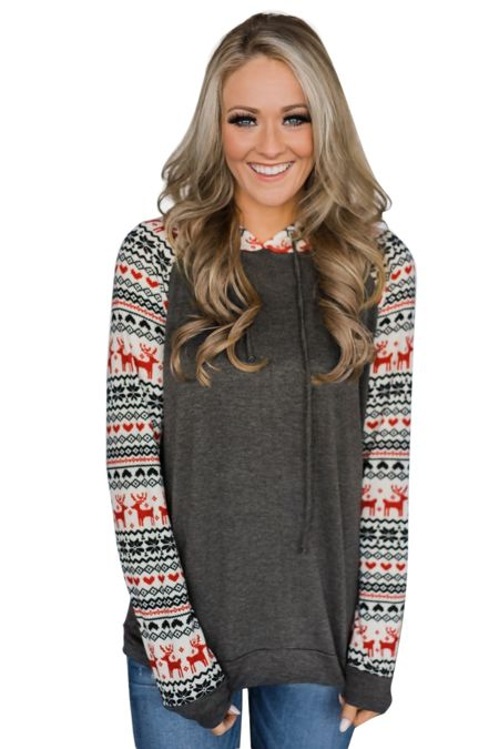 Dark Grey Reindeer Hooded Jumpers