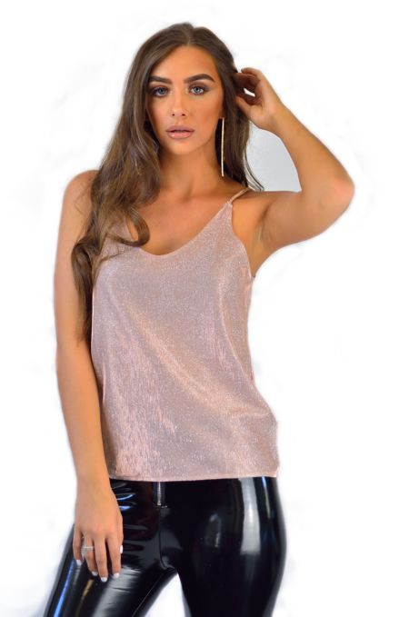 Pink Shimmer Sleeveless Top