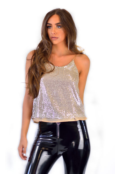 Beige Sequin Strap Top