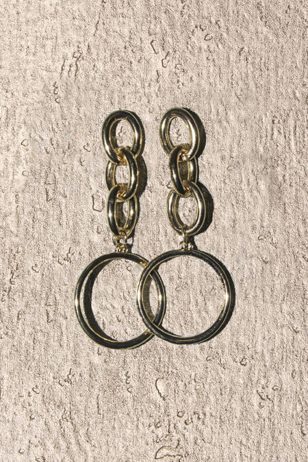 Gold Chain Drop Circle Earrings