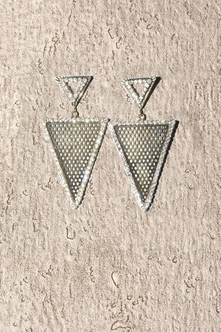 Gold Net Triangle Earrings