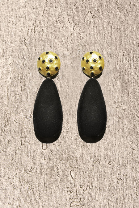 Black Suede Long Round Earrings