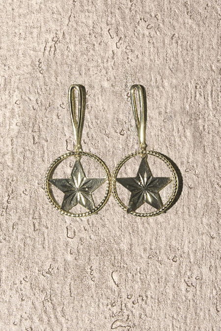 Gold Round Stars Earrings