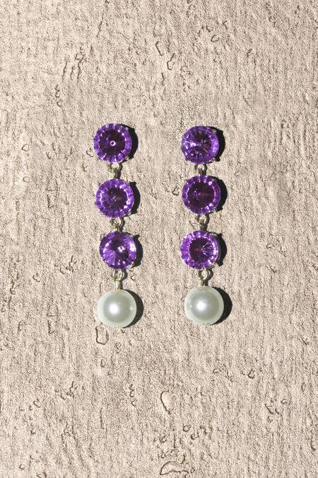 Crystal Purple Gemstone Round Pearl Drop Earrings