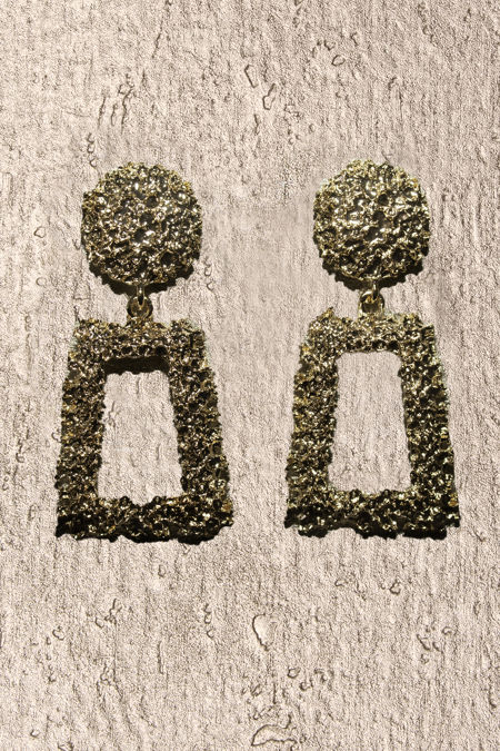 Gold Door Knock Textured Earrings