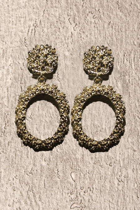 Gold Round Textured Earrings