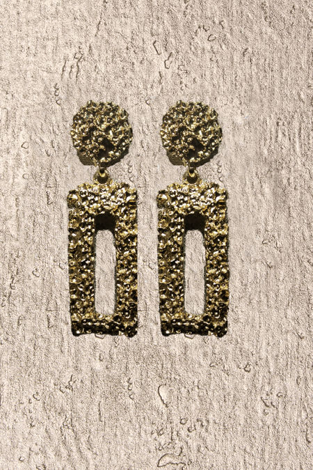 Gold Rectangle Textured Earrings