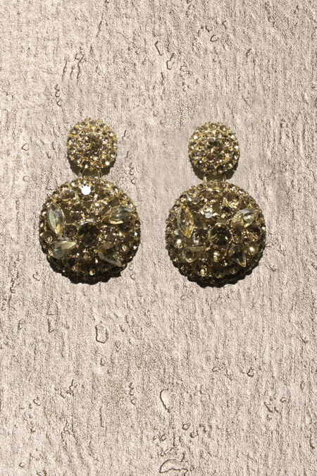 Round Gold Crystal Statement Earrings