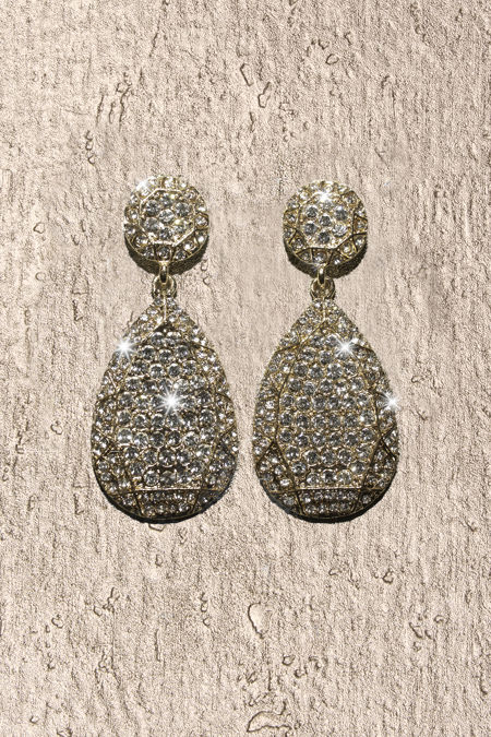Gold Oval Silver Diamante Earrings