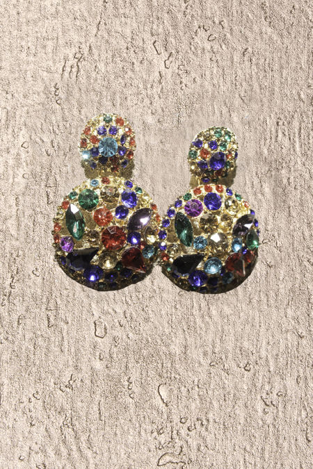 Multi Stud Round Diamante Earrings