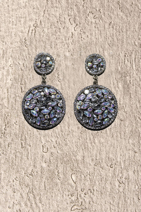 Round Crystal Statement Earrings