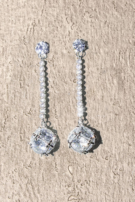 Silver Diamante Crystal Ball Earrings