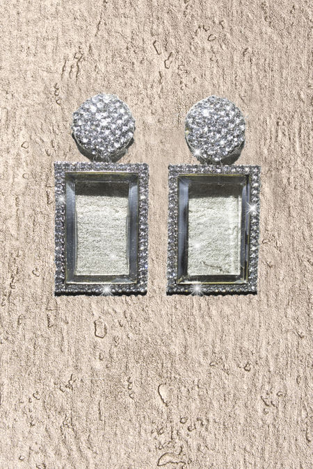 Silver Diamante Square Statement Earrings
