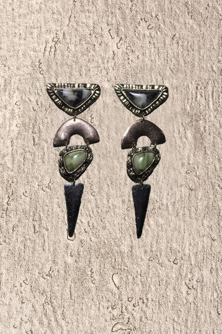 Green Stone Copper Earrings