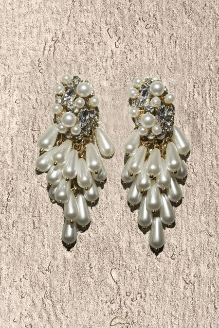 White Pearl Diamante Earrings