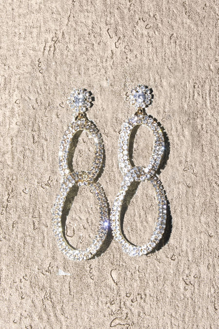 Silver Diamente Knot Earrings