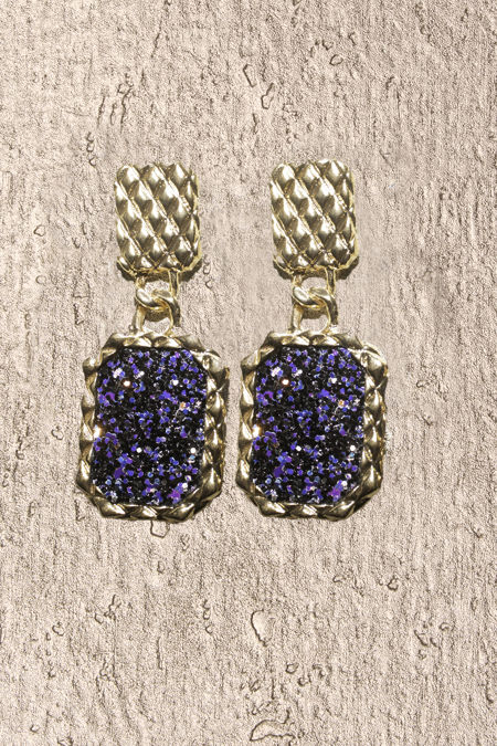 Blue Purple Shimmer Square Frame Earrings