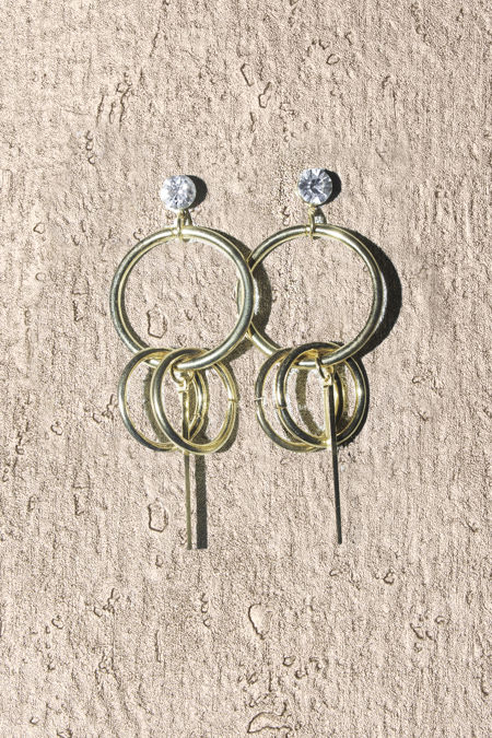 Gold Tripple Circle Bar Earrings