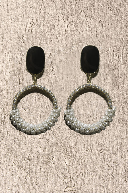 Black Stone Pearl Diamante Earrings