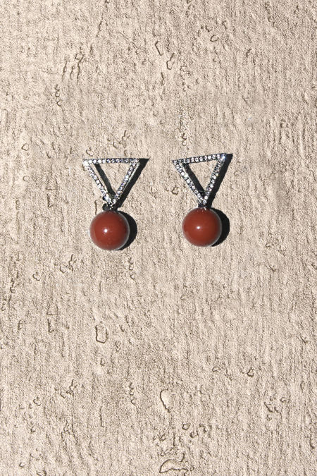 Red Stone Silver Diamante Earrings
