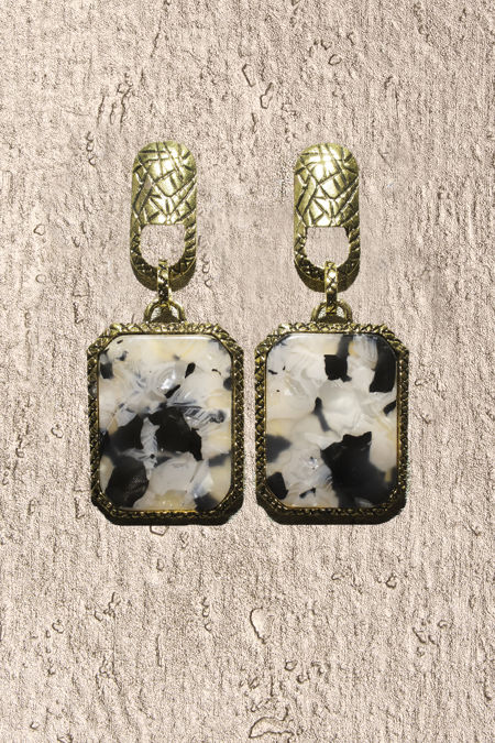 Gold Marble Square Earings