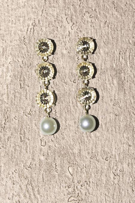 Crystal Gold Gemstone Round Pearl Drop Earrings