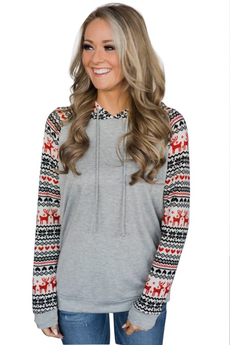 Light Grey Reindeer Hooded Jumpers