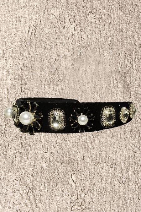 Black Pearl Diamante Headband