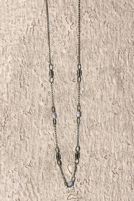 Gold Long Chain Silver Diamante Necklace