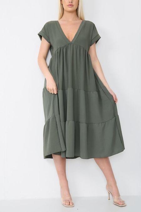 Khaki Smock Dress