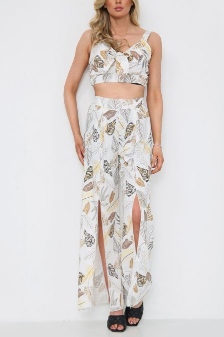 White Printed Top and Trouser Set