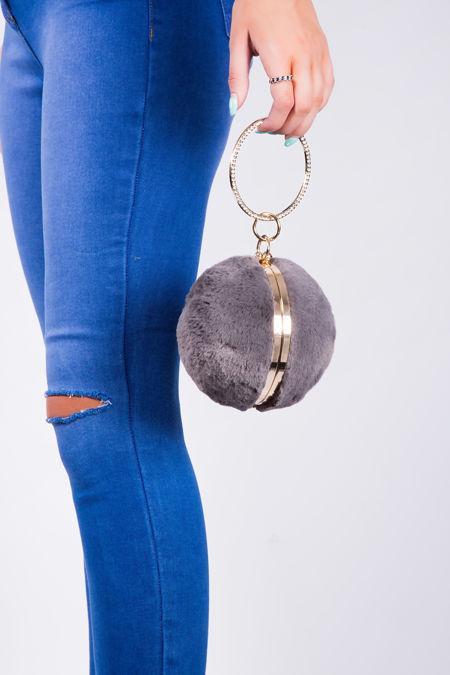 Grey velvet embellished sphere bag
