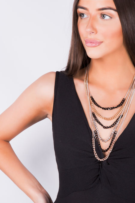 Black Silver Gold Multi-Layered Chain Necklace