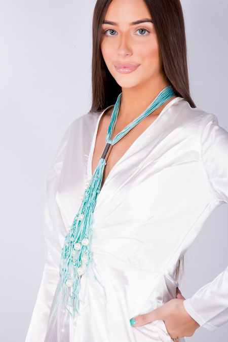 Turquoise Thread White Pears Long Chain Necklace