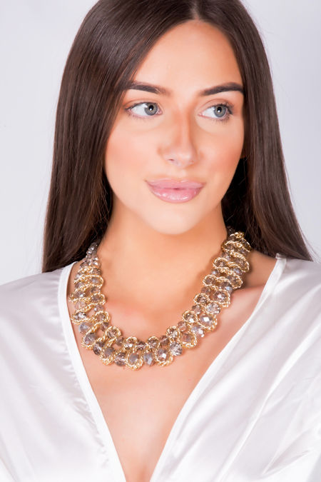 Grey Stone Gold Chunky Chain Necklace